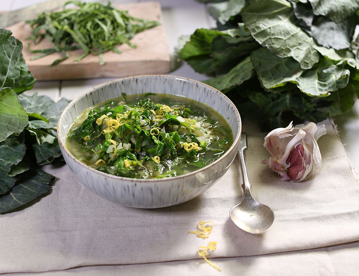 Spring Greens Broth with Lemon & Garlic