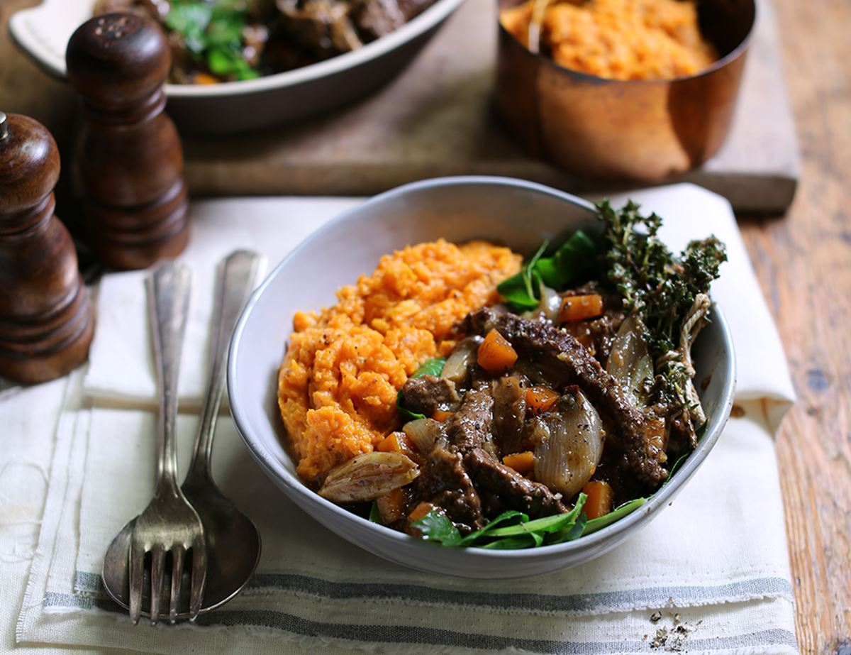 Beef & Golden Shallot Stew with Fiery Sweet Potato Mash