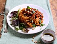 Spaghetti with Sun Dried Tomato & Lentil Bolognese