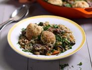 Slow Cooked Lamb & Barley Stew with Horseradish Dumplings