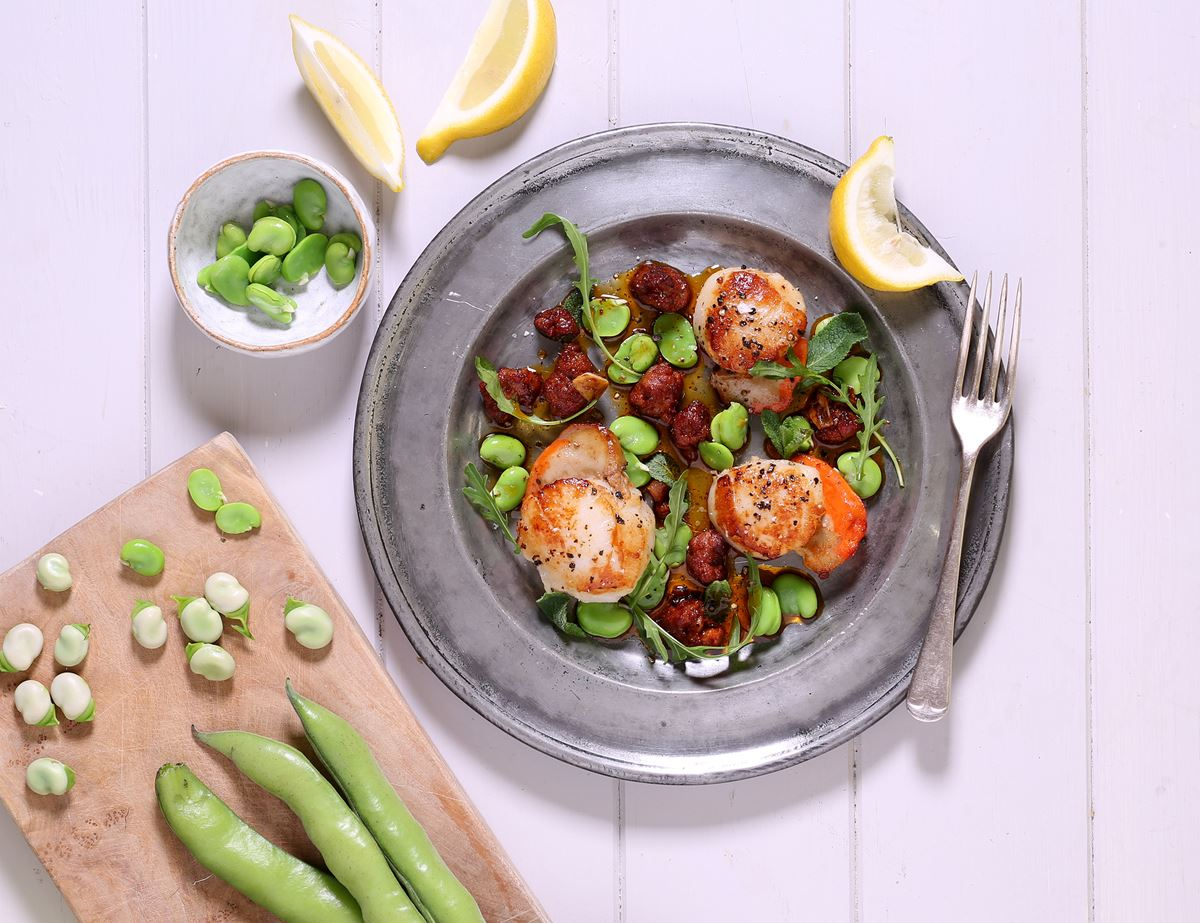 Golden Scallops with Chorizo, Broad Beans & Mint