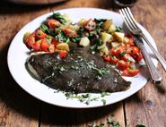 Grilled Plaice with Herby Tomato Sauce & Rosemary Potatoes