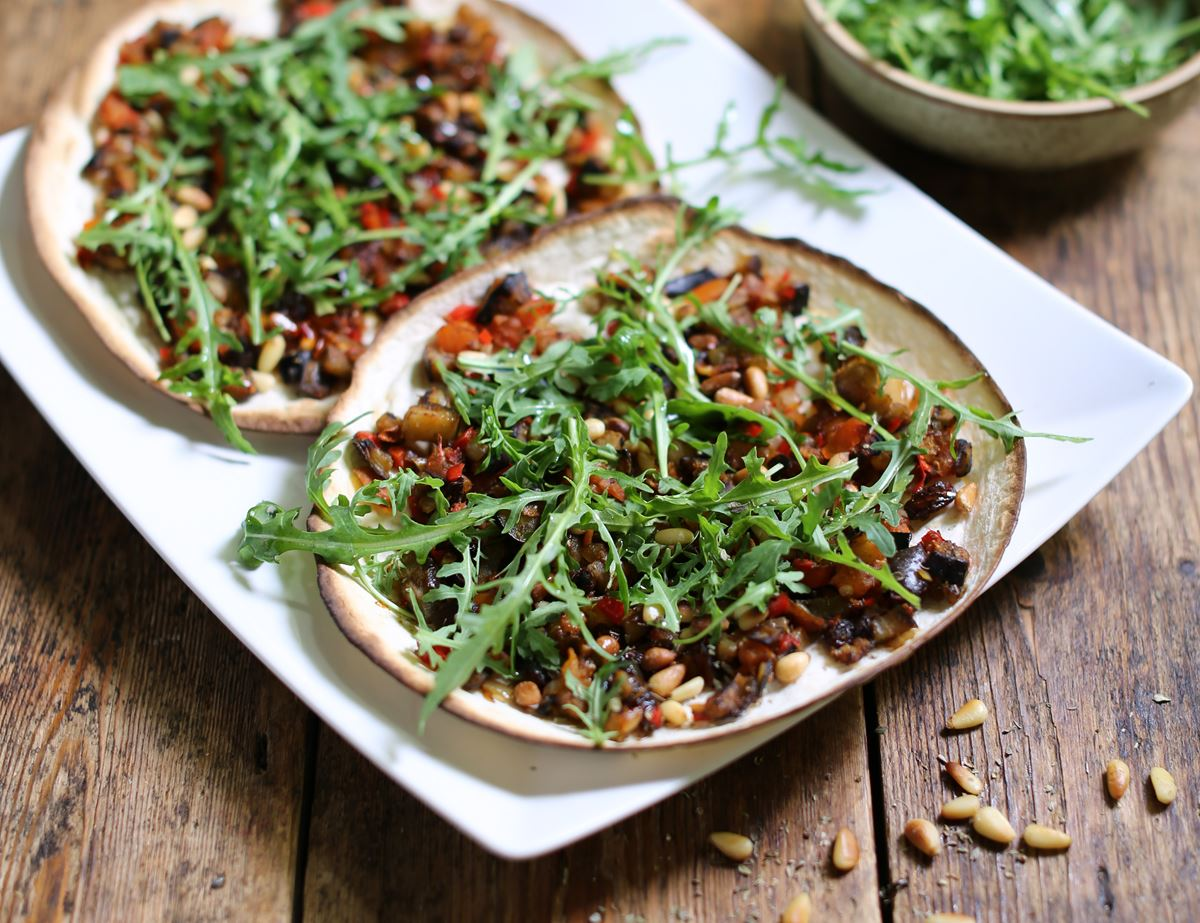 Turkish Pizzas with Aubergine & Pine Nut Topping