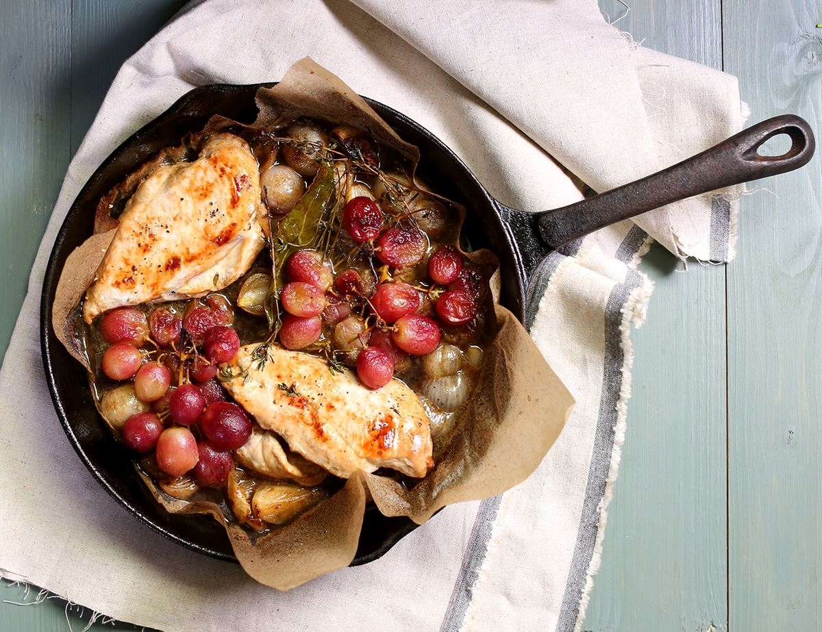 Pan Roasted Chicken & Grapes