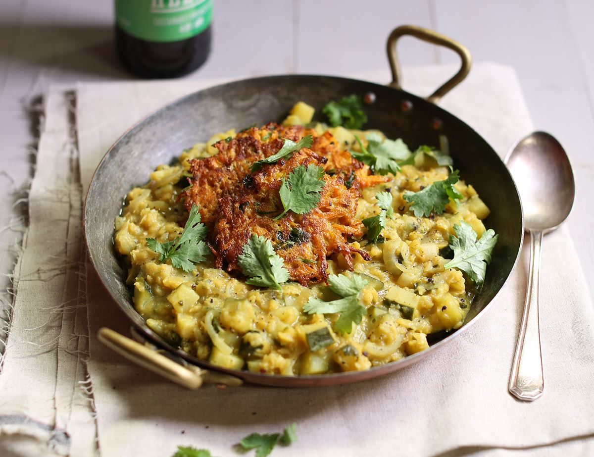 Courgette Daal with Crispy Carrot Fritters