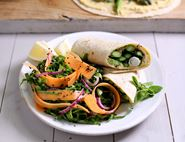 Griddled Asparagus & Houmous Wraps with Crunchy Green Slaw