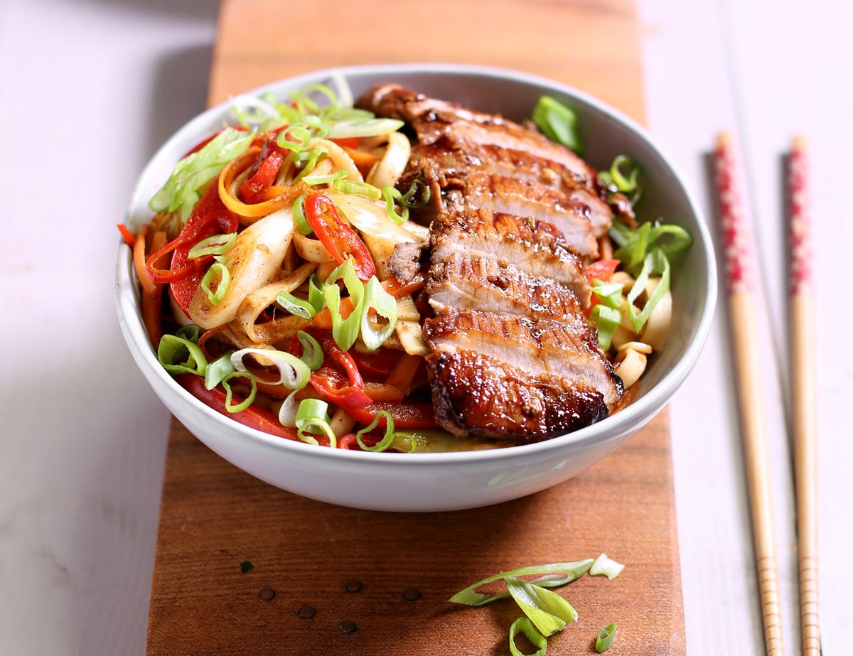 Sticky Honey & Five Spice Pork Escalopes with Noodles