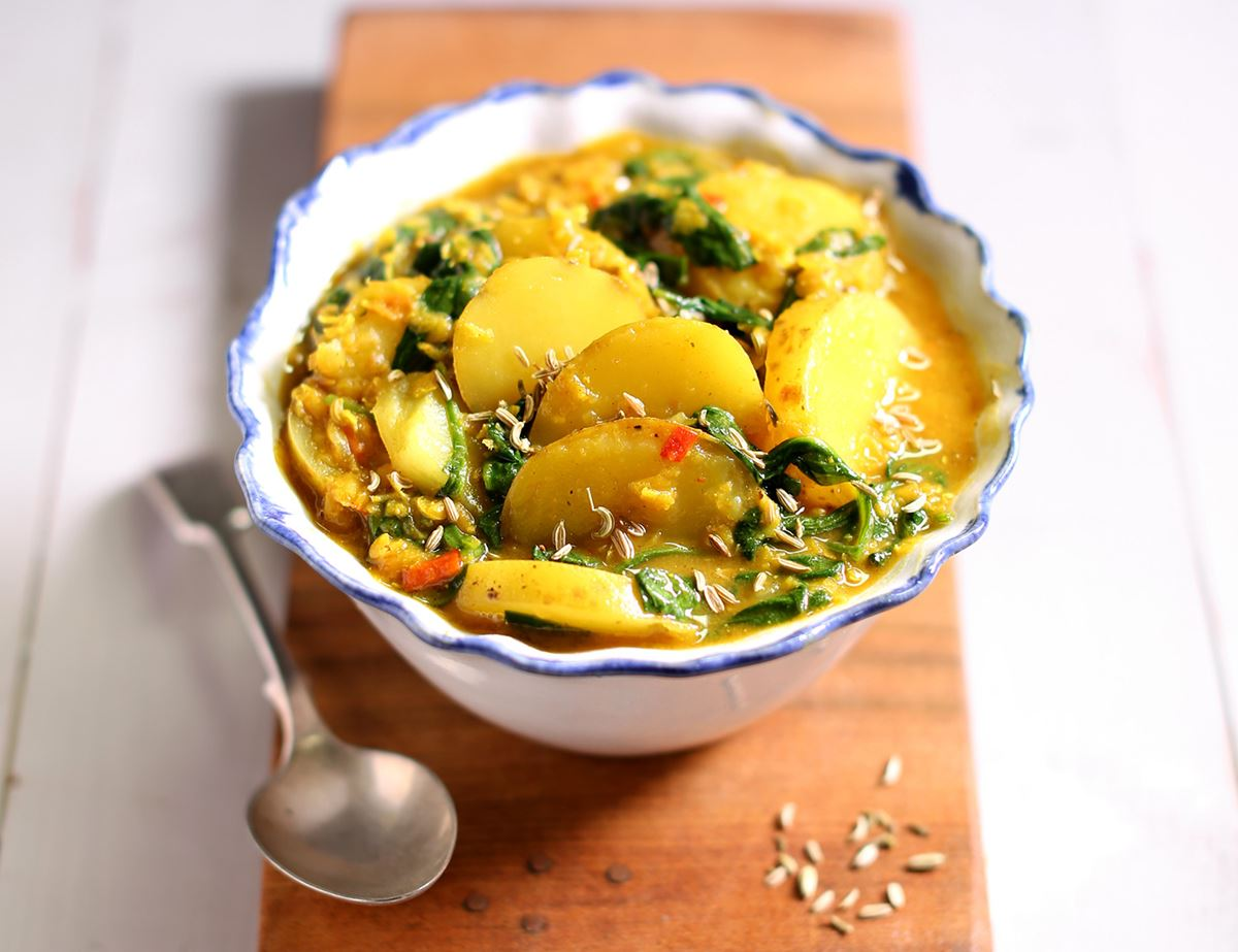 Spring Potato, Spinach & Lentil Curry