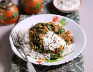 Lamb Keema Curry with Cucumber Raita