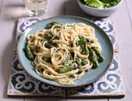 Spaghetti with Asparagus, Mascarpone & Lemon Sauce
