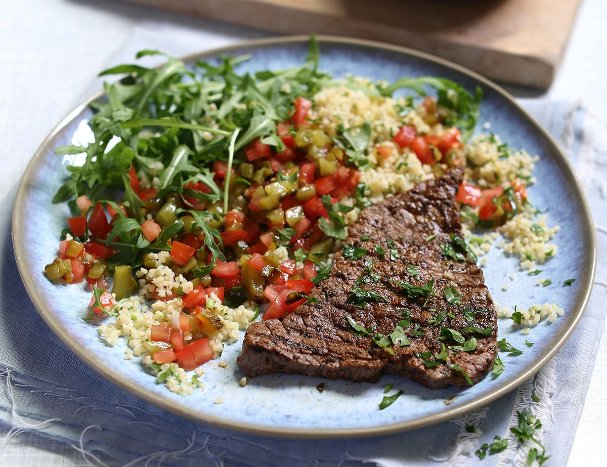 Cajun Spiced Minute Steaks with Charred Pepper Salsa