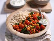 Tomato, Spinach & Chickpea Curry with Cucumber Yogurt
