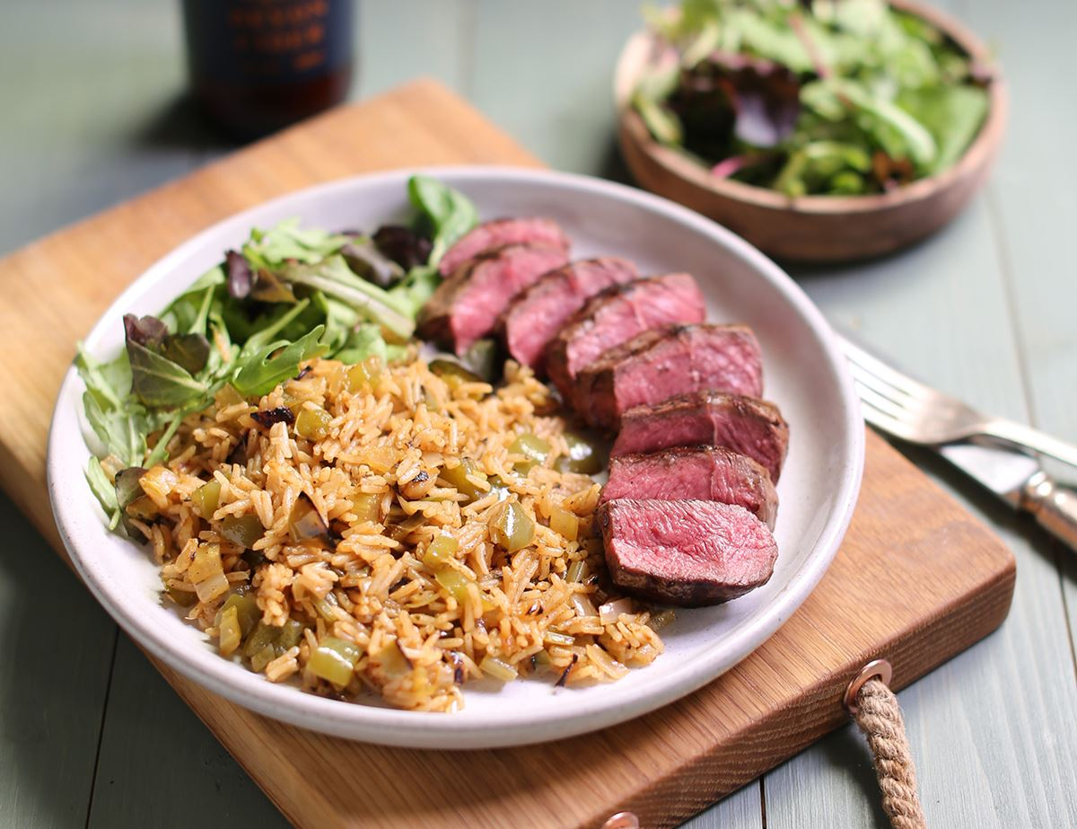 Griddled Centre Cut Steaks with Creole Rice