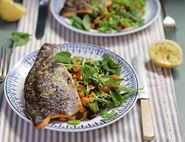 Grilled Trout with Broad Beans, Chickpeas & Paprika