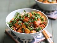 Crispy Golden Tofu with Tangy Tomato Sauce
