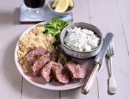 Roast Lamb Couscous with Cucumber, Mint & Cumin Yogurt