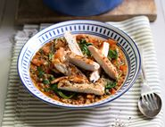 Golden Chicken with Harissa Spiced Lentils