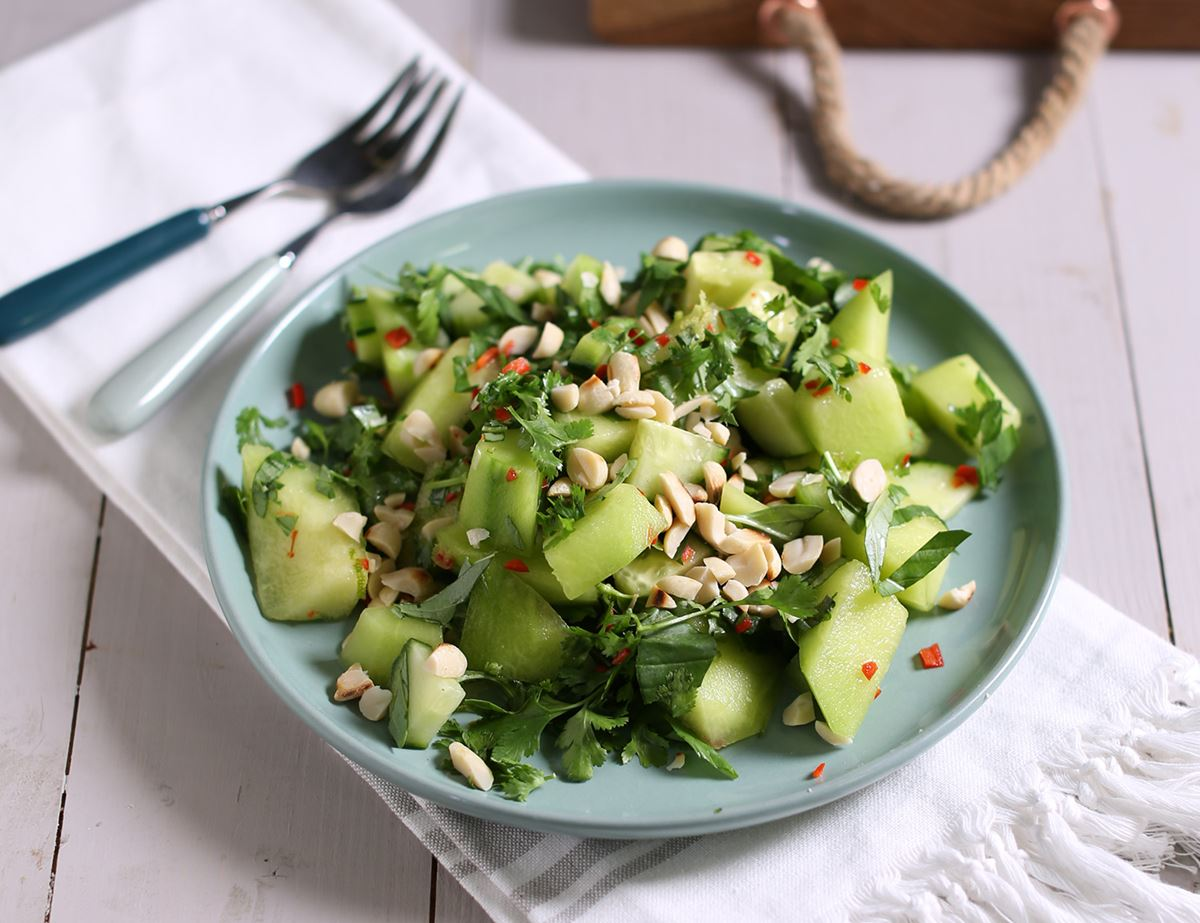 Melon, Herb & Golden Peanut Salad