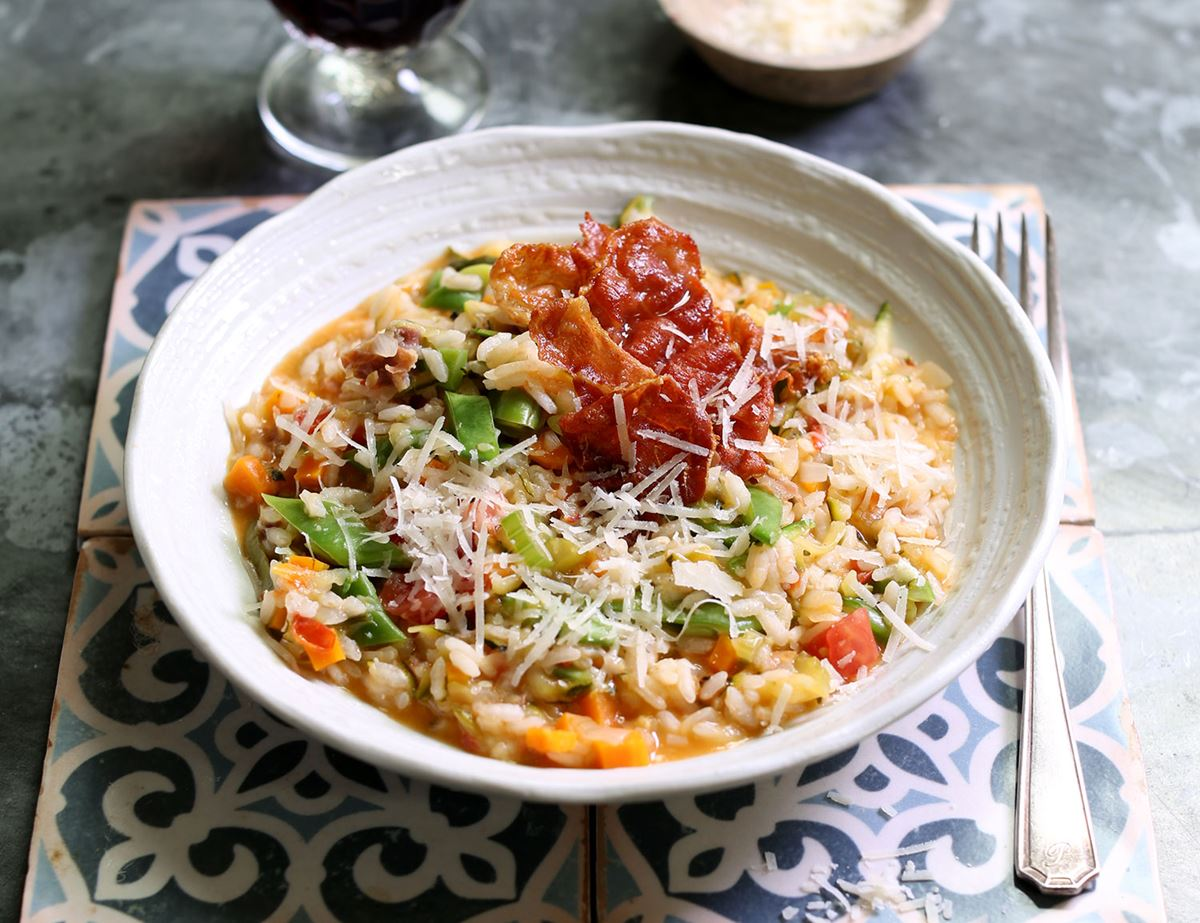 Risotto with Summer Vegetables & Crispy Prosciutto