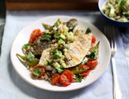 Grilled Plaice Fillets with Avocado Salsa & Rice