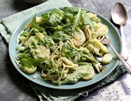 Spaghetti with Green Garlic, Basil & Pine Nut Pesto