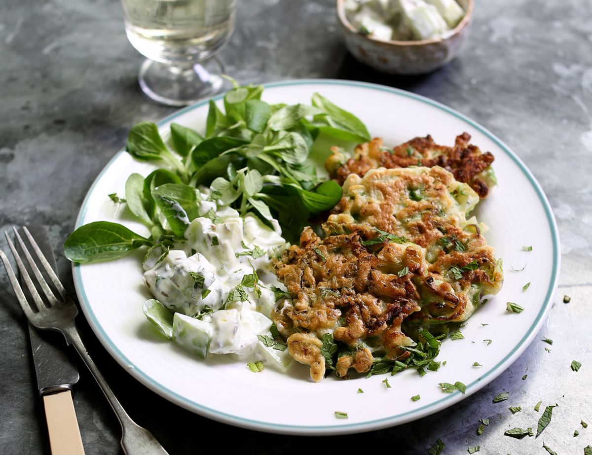 Lettuce, Mint & Spring Onion Fritters with Cucumber & Yogurt Salad