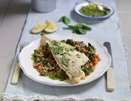 Grilled Haddock with Summer Greens, Basil & Barley