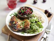 Griddled Chicken with Cherry & Lime Salsa