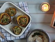 Stuffed Squash with a Zingy Tahini Dressing