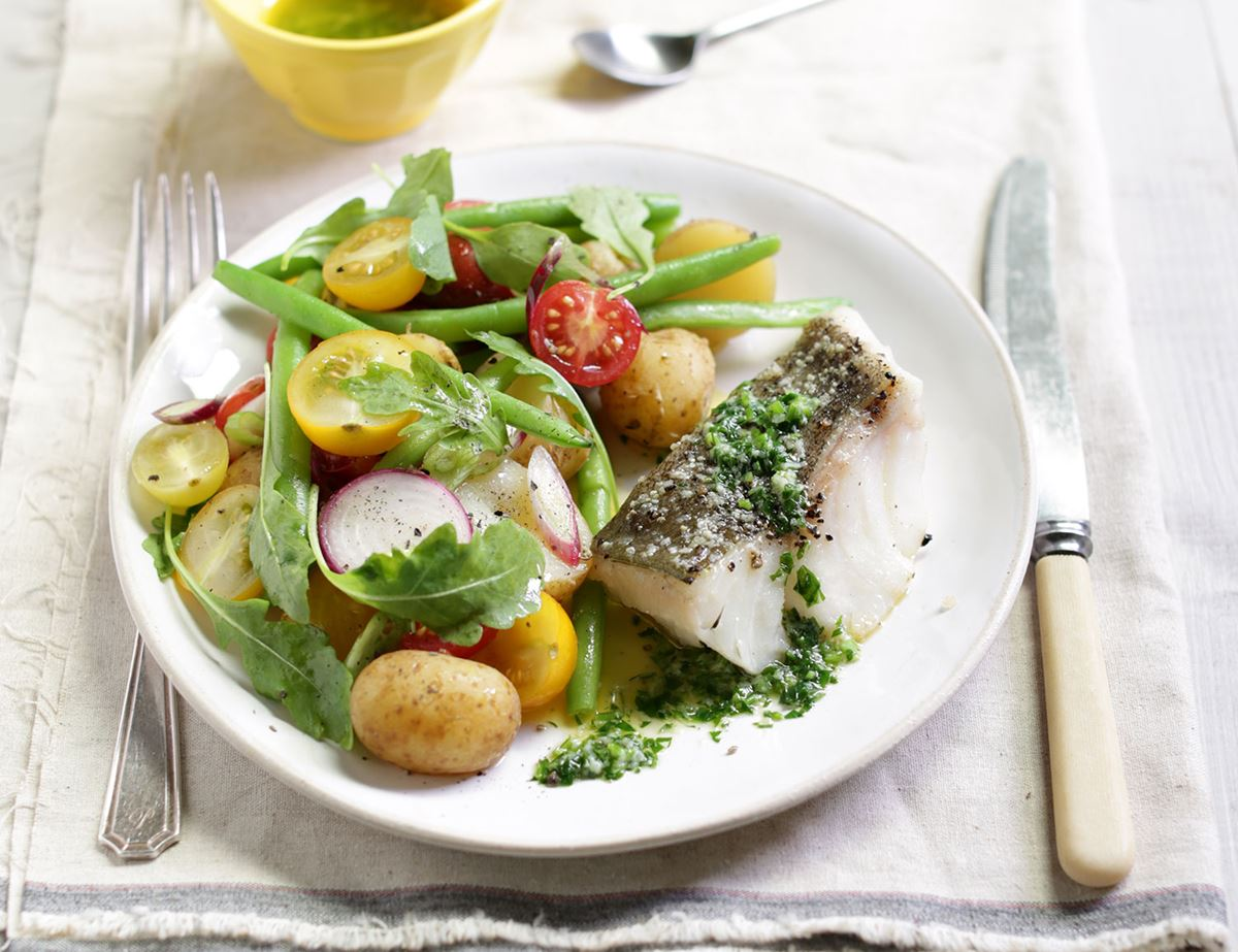 Roast Cod with Parsley Butter & Lemony New Potatoes