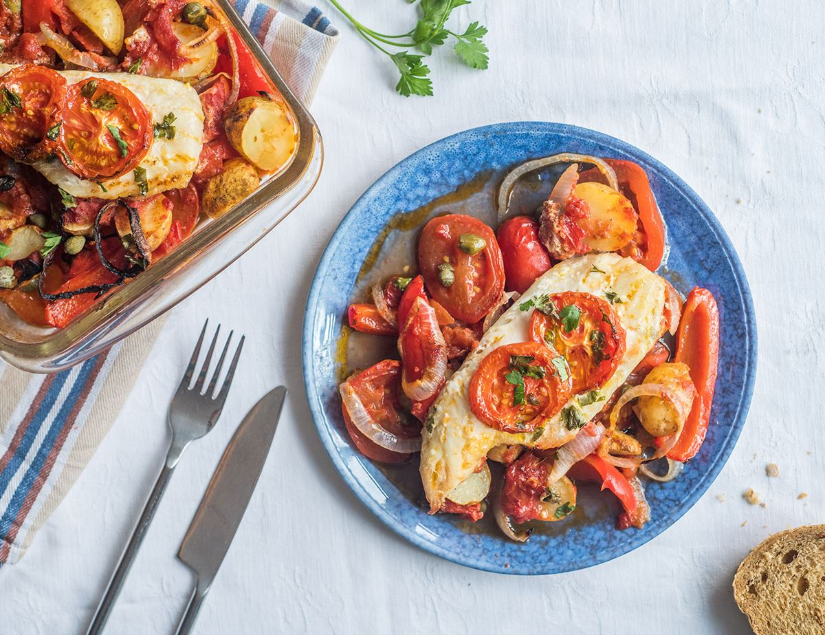 Oven Baked Haddock with Baby Potatoes, Tomatoes & Capers