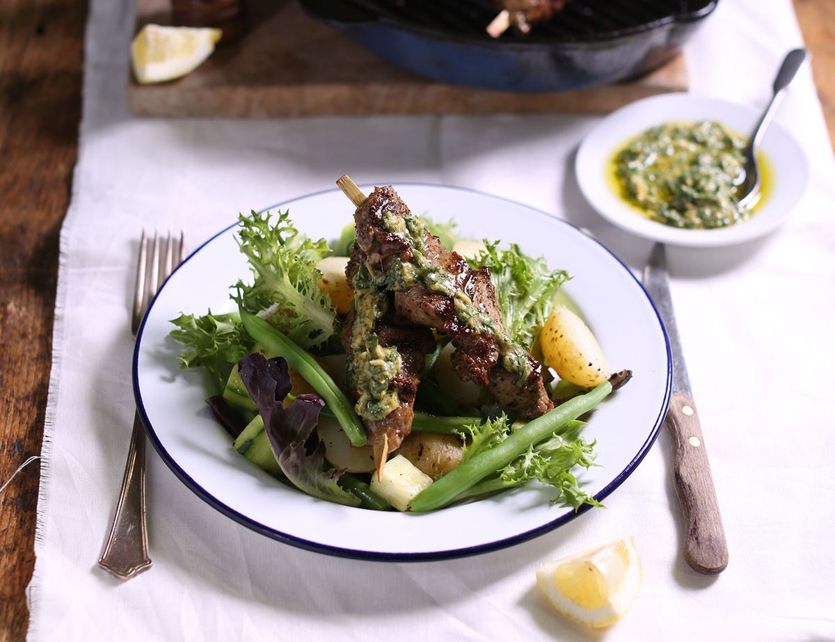 Griddled Lamb with Salsa Verde & New Potatoes