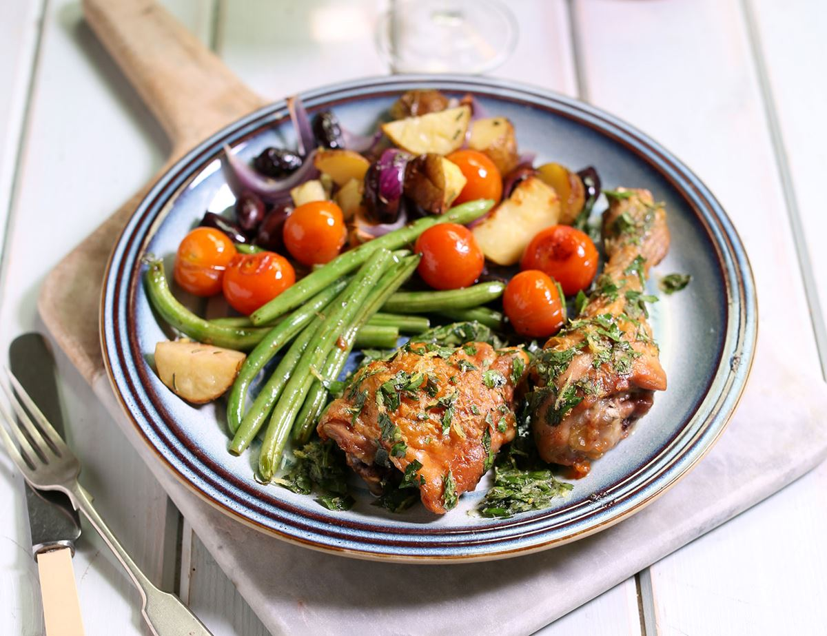 Tuscan Herb Roasted Chicken with Rosemary & Olive Potatoes