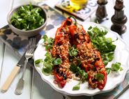 Greek Stuffed Peppers with Olives & Pine Nuts