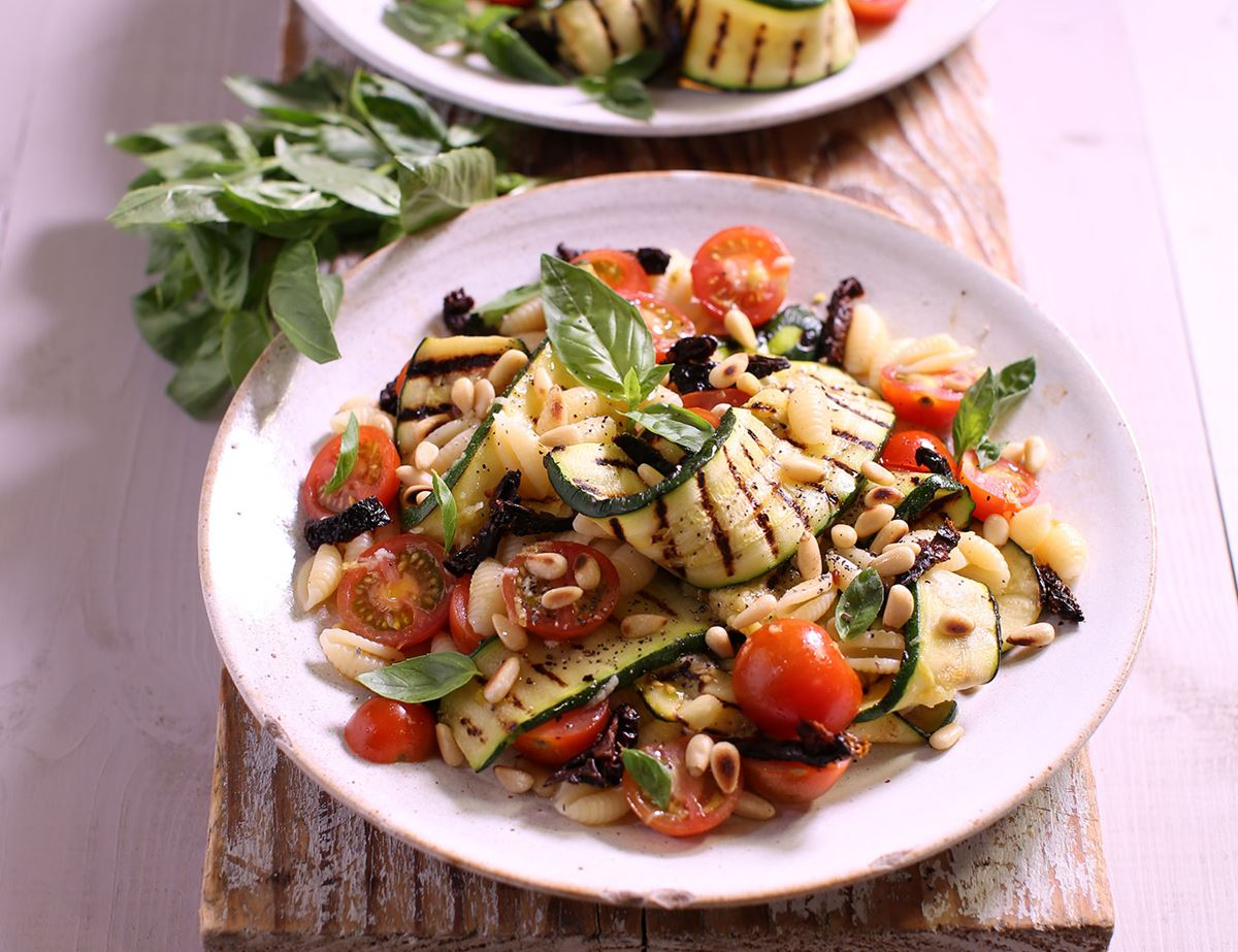 Griddled Courgette, Basil & Gnocchetti Salad