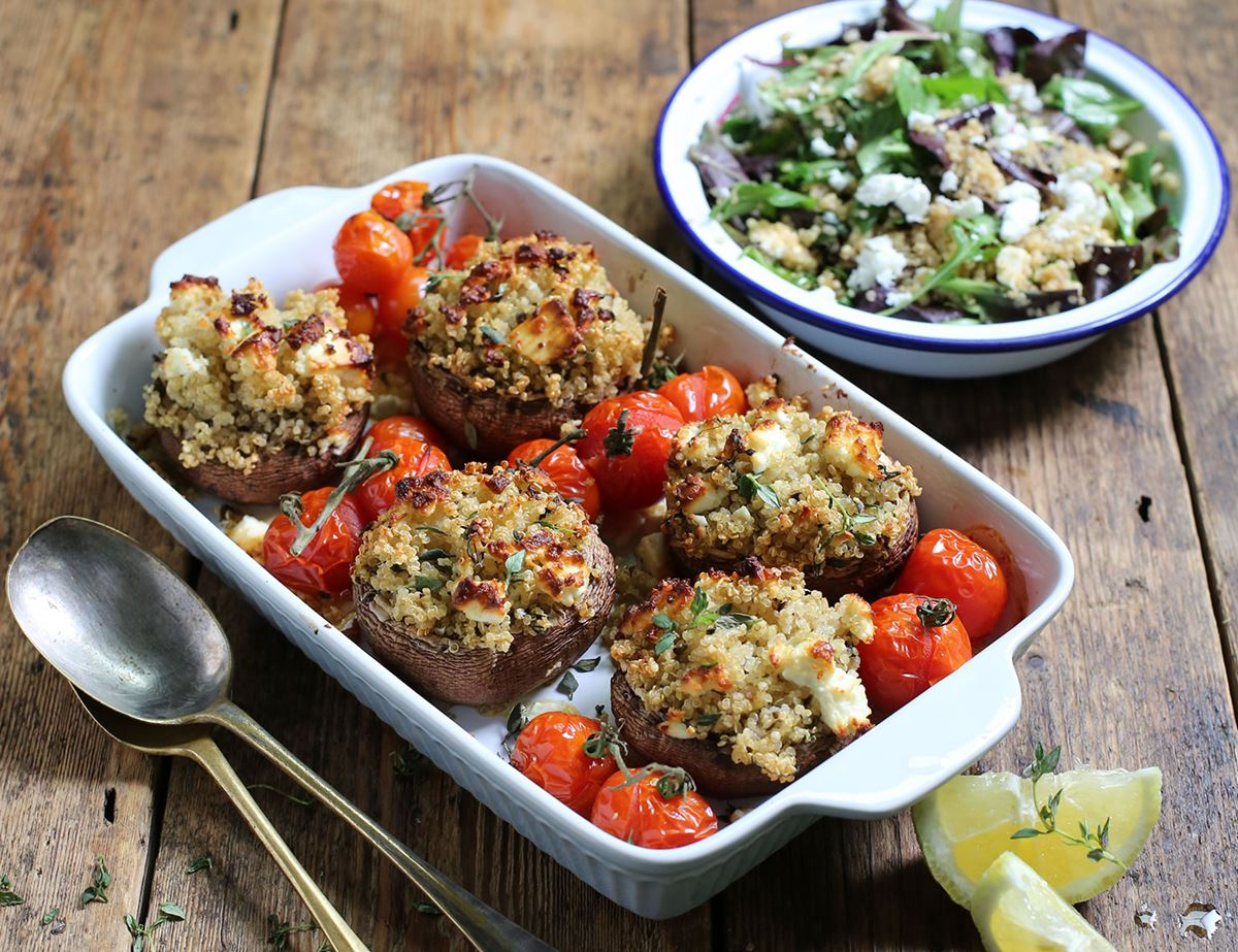Baked Mushrooms Stuffed with Feta & Herby Quinoa
