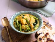 New Potato & French Bean Curry with Flat Breads