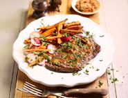 Miso Butter Minute Steaks with Sweet Potato Chips