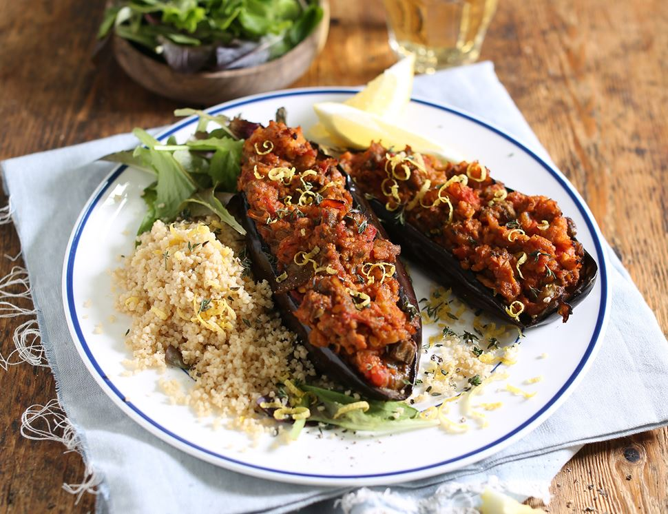Greek-Style Stuffed Aubergines with Soya Mince