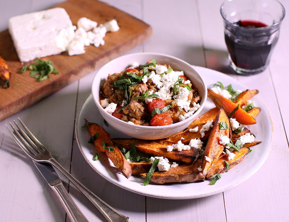 Slow Cooked Lamb with Feta, Mint & Sweet Potato Wedges