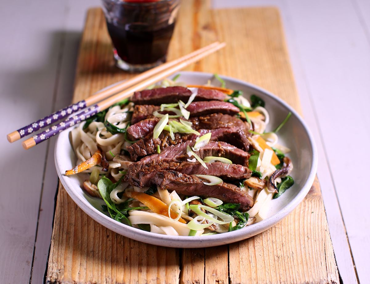 Quick Minute Steak & Shiitake Noodles