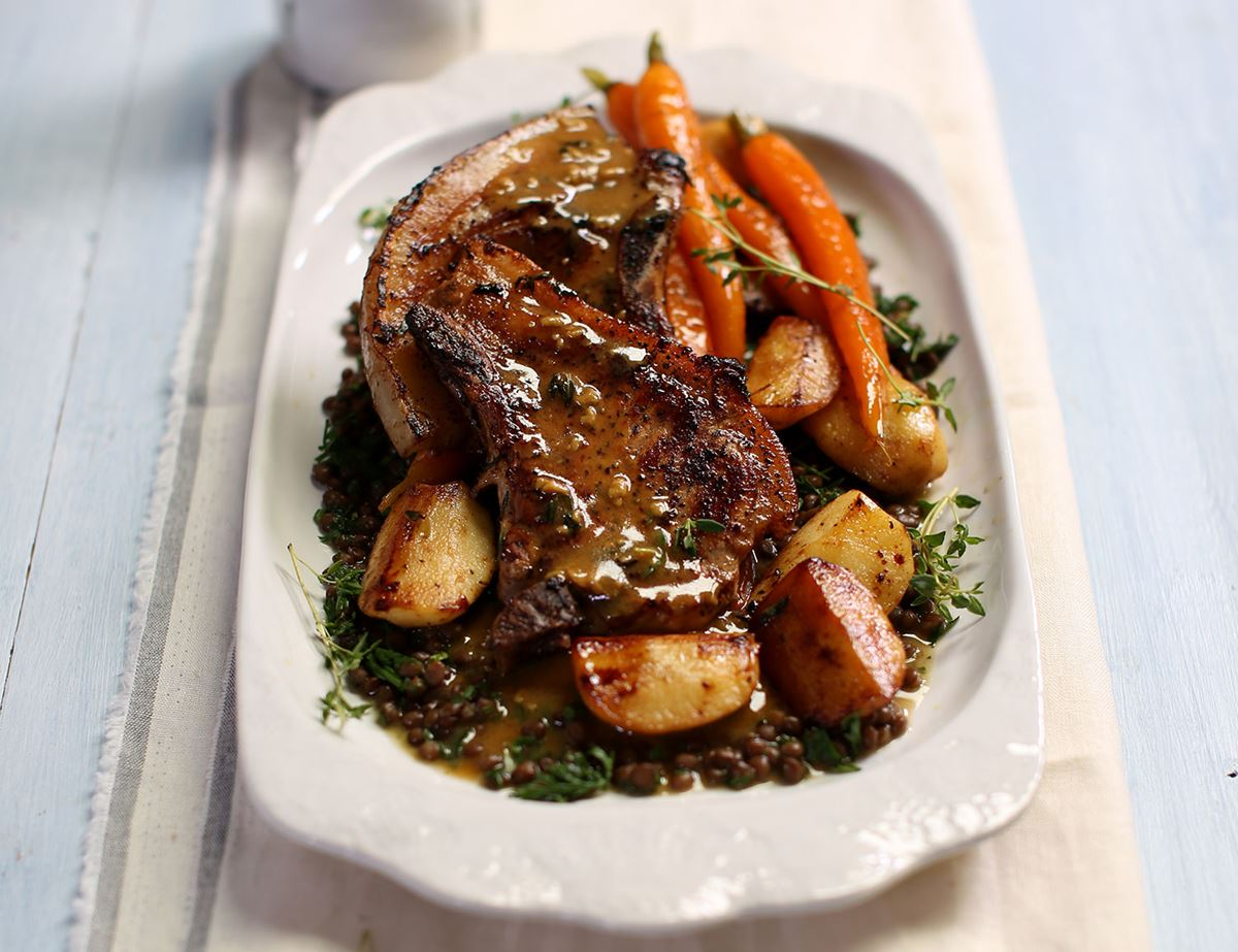 Glazed Pork Chops with Pan Fried Apples