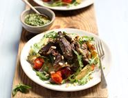 Speedy Basil Pesto Beef with Roasted Cherry Tomatoes & Spuds