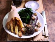 Onglet Steaks with Mustard Sauce, Chips & Greens