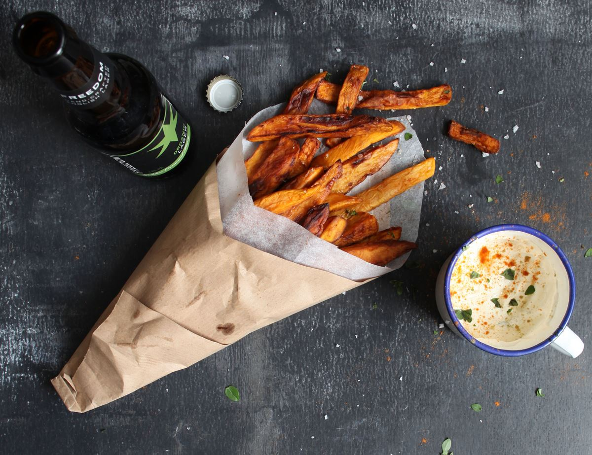 Sweet Potato Chips with Spiced Crème Fraiche