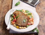 Beef Schnitzels with Heirloom Tomato & Basil Pasta