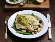 Grilled Plaice with Beans, Greens & Tarragon Sauce