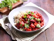 Beetroot, Halloumi & Cashew Curry