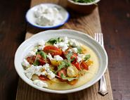 Polenta with Goat's Cheese & Pan Roasted Tomatoes