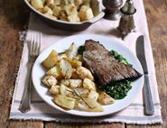 Steaks with Stilton Sauce, Sprout Tops & Celeriac